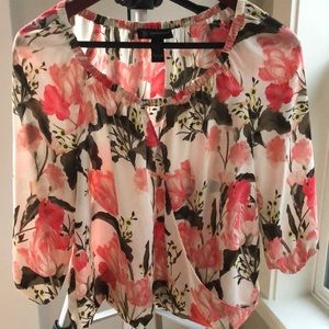 INC Floral Wrap Blouse